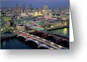 Paul Photo Greeting Cards - England,london,blackfriars Bridge, St.pauls And The City,dusk Greeting Card by Ary Diesendruck