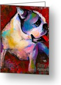 Reds Mixed Media Greeting Cards - English American Pop Art Bulldog print painting Greeting Card by Svetlana Novikova