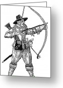 Archer Greeting Cards - English Archer, 1634 Greeting Card by Granger