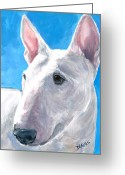 Terriers Greeting Cards - English Bull Terrier on Blue Greeting Card by Dottie Dracos