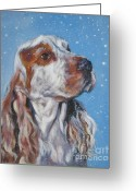 Cocker Spaniel Greeting Cards - English Cocker Spaniel in snow Greeting Card by Lee Ann Shepard