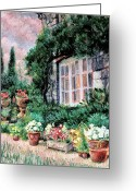 English Garden And House Greeting Cards - English Cottage and Pathway Garden 2 Greeting Card by    Armand  Storace