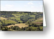 Hillside Greeting Cards - English countryside panorama Greeting Card by Jane Rix