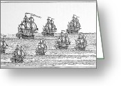 1732 Greeting Cards - English Fleet, 1732 Greeting Card by Granger