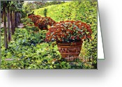 Most Greeting Cards - English Flower Pots Greeting Card by David Lloyd Glover