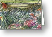 Canal Drawings Greeting Cards - English Garden Greeting Card by Mindy Newman