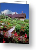 English Garden And House Greeting Cards - English House and Garden Greeting Card by Larry Mulvehill