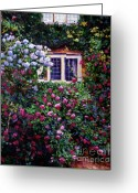 Britain Painting Greeting Cards - English Manor House Roses Greeting Card by David Lloyd Glover