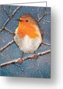 Outdoors Pastels Greeting Cards - English Robin in Snow Greeting Card by Joyce Geleynse