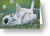 L.a.shepard Greeting Cards - English Setter Puppy and Butterflies Greeting Card by L A Shepard