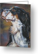 Tricolor Greeting Cards - English Setter Tricolor Greeting Card by Lee Ann Shepard