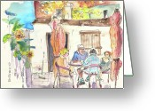 Championship Drawings Greeting Cards - English Tourists in Barco de Alva in Portugal Greeting Card by Miki De Goodaboom