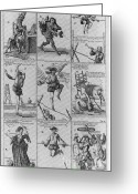 Walking Tightrope Greeting Cards - Engravings From The Great Tableau Greeting Card by Science Source