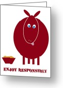 Health Drawings Greeting Cards - Enjoy Responsibly Greeting Card by Frank Tschakert