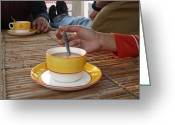 Food Greeting Cards - Enjoying a cup of tea kept on a bamboo table Greeting Card by Ashish Agarwal