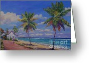 Bay Islands Painting Greeting Cards - Enjoying the Moment Greeting Card by John Clark
