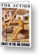 Airplanes Digital Art Greeting Cards - Enlist In The Air Service Greeting Card by War Is Hell Store