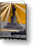 World War One Greeting Cards - Enlist In The Navy Greeting Card by War Is Hell Store