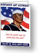 Political Propaganda Digital Art Greeting Cards - Enlist In Your Navy Today Greeting Card by War Is Hell Store