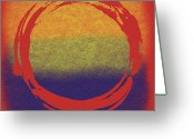 Stretched Canvas Greeting Cards - Enso 7 Greeting Card by Julie Niemela