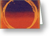 Stretched Canvas Greeting Cards - Enso 8 Greeting Card by Julie Niemela
