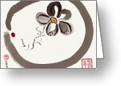 Sumi Greeting Cards - Enso Aven Greeting Card by Casey Shannon