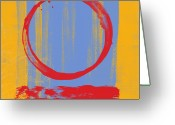 Orange Greeting Cards - Enso Greeting Card by Julie Niemela