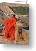 Mundesley Greeting Cards - Entangled orange fishing net Greeting Card by Camera Rustica Bill Kerr