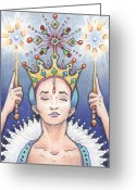 Magic Drawings Greeting Cards - Enter The Frost Queen Greeting Card by Amy S Turner