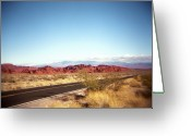 Double Yellow Line Greeting Cards - Entering The Valley Of Fire Greeting Card by Lori Andrews