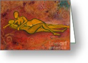 Gold Painting Greeting Cards - Enthralled Greeting Card by Ilisa  Millermoon