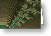 Turquoise And Brown Greeting Cards - Enthusiasm Greeting Card by Bonnie Bruno