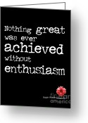 Without Greeting Cards - Enthusiasm Greeting Card by Kate McKenna