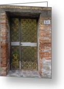 Scroll-work Greeting Cards - Entrance of Old Brick Building Greeting Card by Andersen Ross