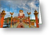 Wat Digital Art Greeting Cards - Entrance To Buddha Greeting Card by Adrian Evans