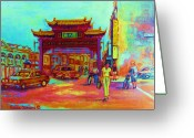 Wine For Two Greeting Cards - Entrance To Chinatown Greeting Card by Carole Spandau