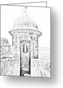 Destinations Digital Art Greeting Cards - Entrance to Sentry Tower Castillo San Felipe Del Morro Fortress San Juan Puerto Rico BW Line Art Greeting Card by Shawn OBrien