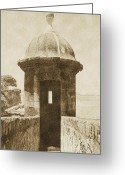 Vintage Greeting Cards - Entrance to Sentry Tower Castillo San Felipe Del Morro Fortress San Juan Puerto Rico Vintage Greeting Card by Shawn OBrien