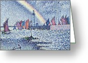 Pointillist Painting Greeting Cards - Entrance to the Port of Honfleur Greeting Card by Paul Signac