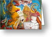 Duende Greeting Cards - Entre Dos Mundos - Between two Worlds Greeting Card by Raul Morales