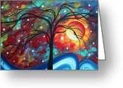 Surreal Tapestries Textiles Greeting Cards - Envision the Beauty by MADART Greeting Card by Megan Duncanson
