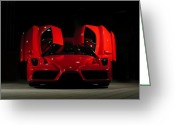 Enzo Ferrari Greeting Cards - Enzo open Doors Greeting Card by Andy Comber