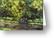 Giclee Pastels Greeting Cards - Eoin Miraim And Cian In Botanic Gardens Greeting Card by John  Nolan