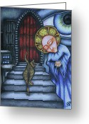 Surrealism Drawings Greeting Cards - Epitaph for Ginger Greeting Card by Maryska Torresowa