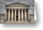 Washington D.c. Tapestries Textiles Greeting Cards - Equal Justice Greeting Card by Mitch Cat