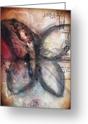 Positive Greeting Cards - EQUATIONS Butterfly Painting Greeting Card by Heather Offord