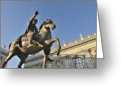 Riders Greeting Cards - Equestrain statue of Emperor Marcus Aurelius in Piazza del Campidoglio.Capitoline Hill. Rome. Italy. Greeting Card by Bernard Jaubert