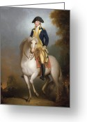 American Revolutionary War Greeting Cards - Equestrian portrait of George Washington Greeting Card by Rembrandt Peale