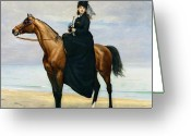 Riding Outfit Greeting Cards - Equestrian Portrait of Mademoiselle Croizette Greeting Card by Charles Emile Auguste Carolus Duran
