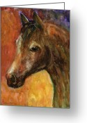 Custom Pet Portraits From Photos Drawings Greeting Cards - Equine Horse painting  Greeting Card by Svetlana Novikova